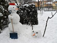 Calvins twisted take on traditional snowpeople shows his creative thinking.