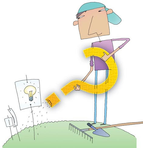 "Middle school student growing an idea garden with ""lightbulb"""