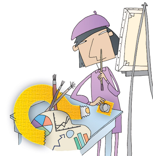 Illustration of an artist
