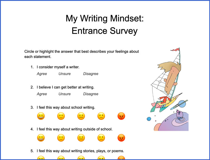 My Writing Mindset: Entrance Survey