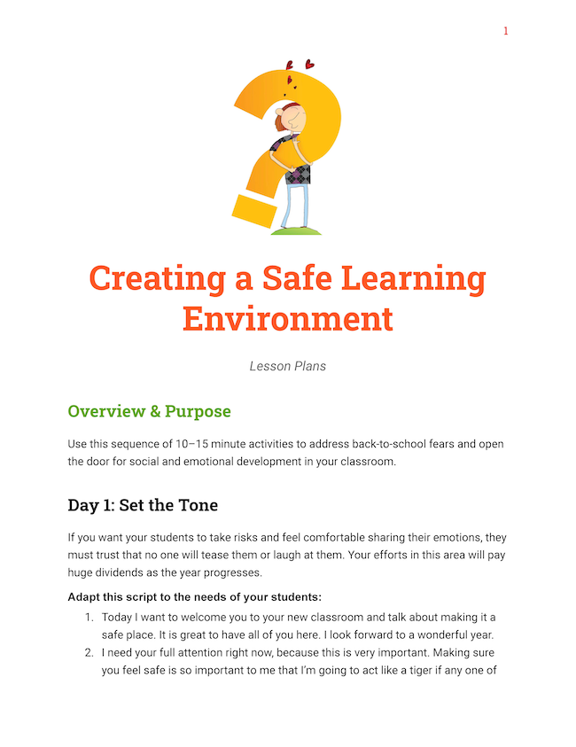 Creating a Safe Learning Environment