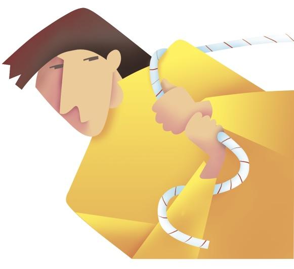 Illustration of figure pulling rope