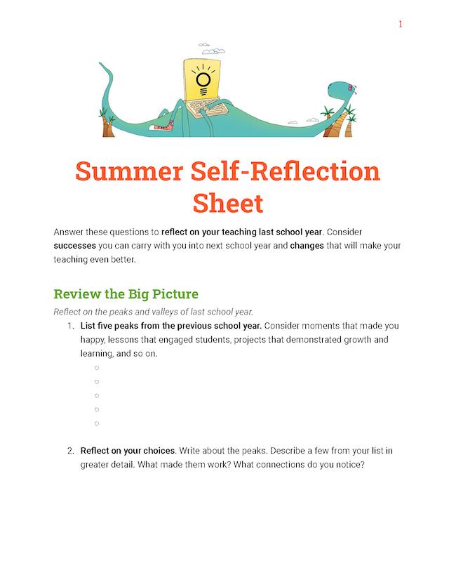 Summer Self-Reflection Sheet