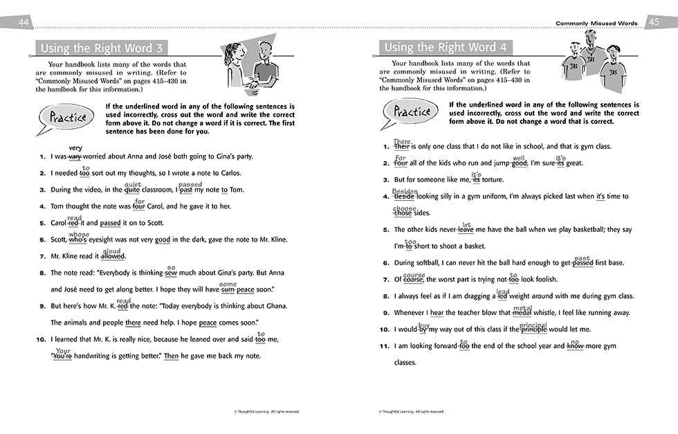 All Write SkillsBook Teacher's Edition pages 44 and 45