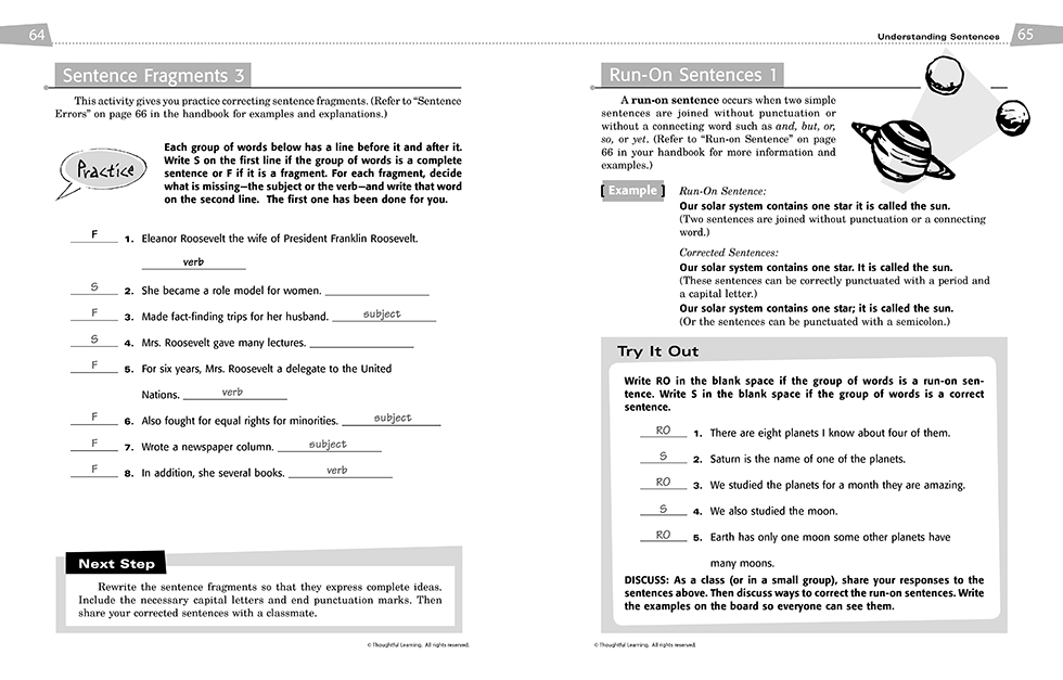 All Write SkillsBook Teacher's Edition pages 64 and 65