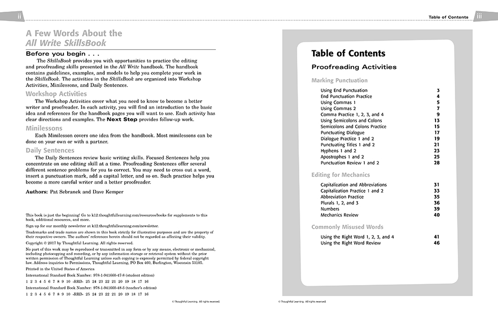 All Write Skillsbook pages ii and iii