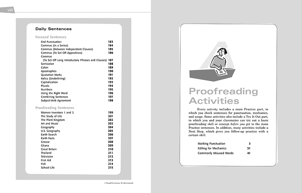 All Write Skillsbook pages viii and 1