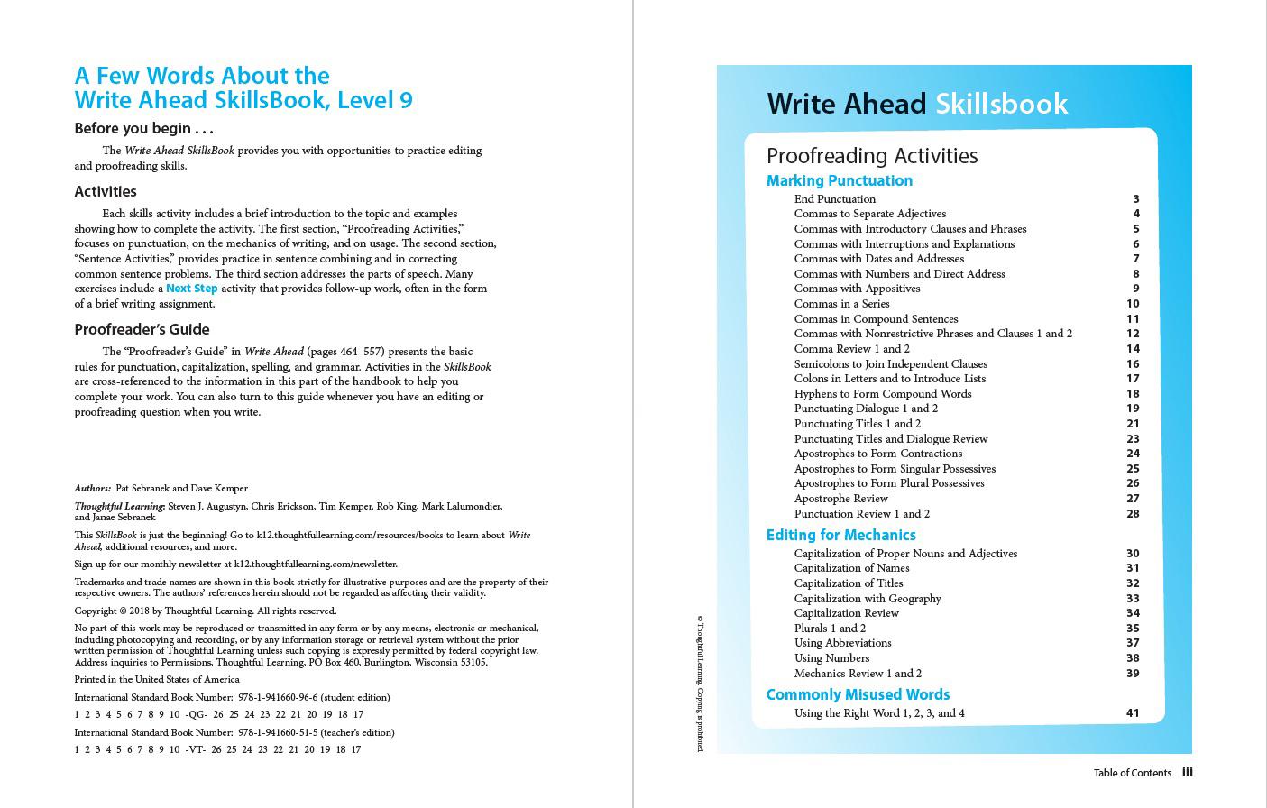 Write Ahead SkillsBook Grade 9 Page ii