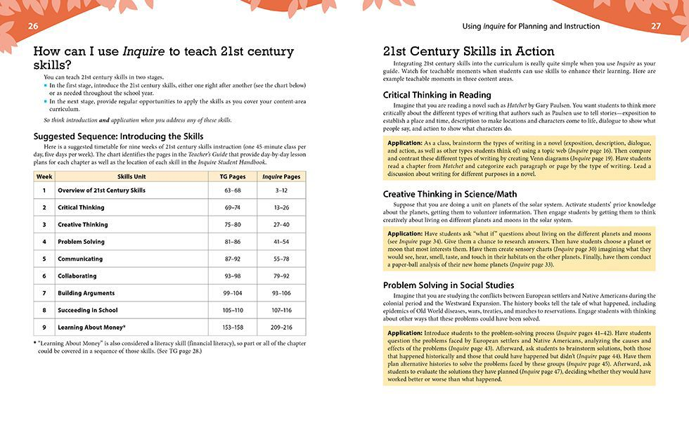 Inquire Elementary Teachers Guide Pages 26 and 27