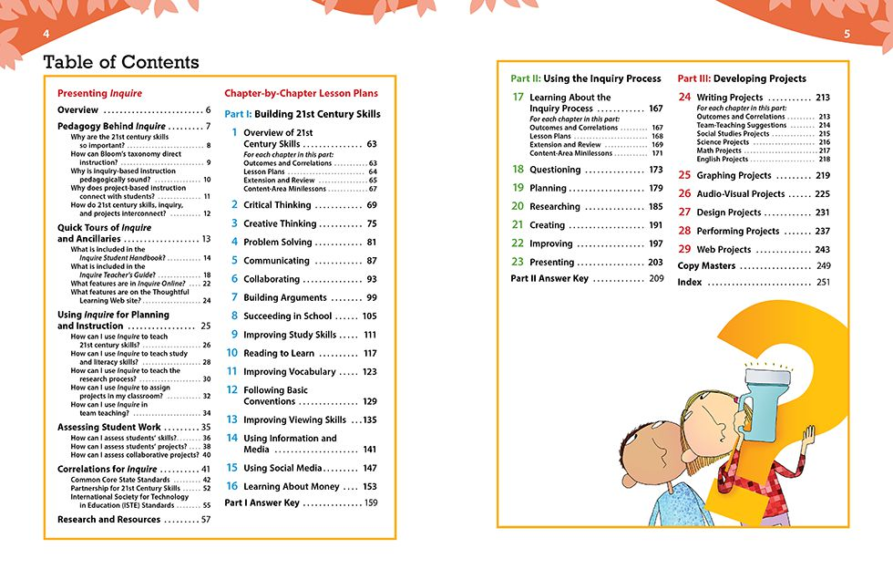 Inquire Elementary Teachers Guide Pages 4 and 5