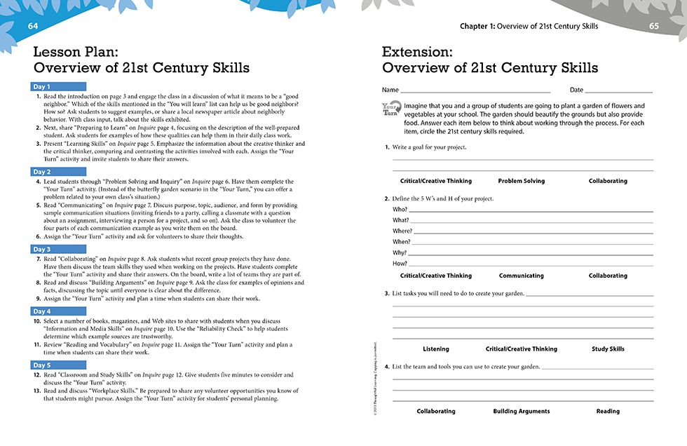 Inquire Elementary Teachers Guide Pages 64 and 65