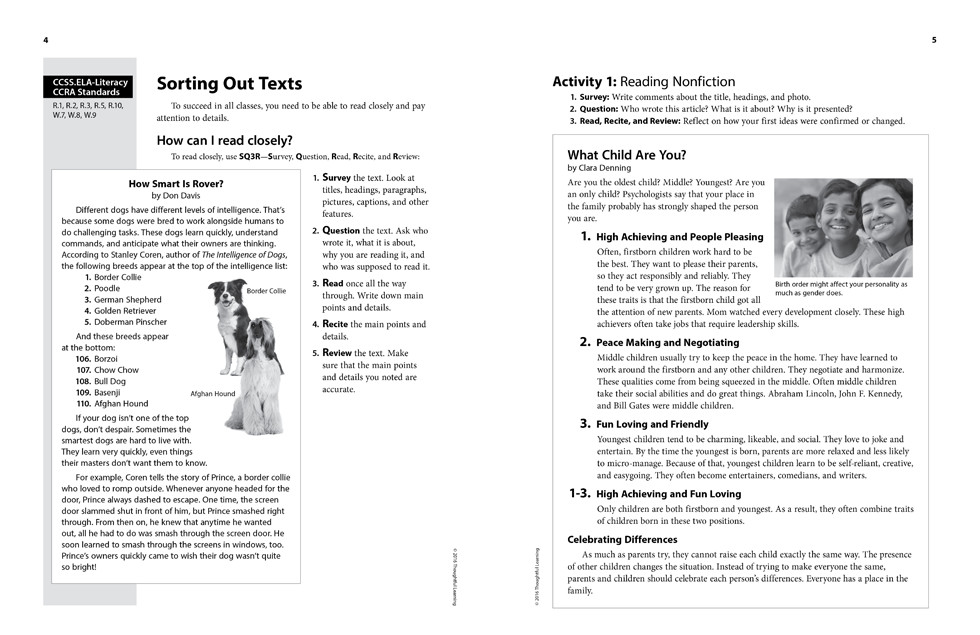 Shifting to the Common Core English/Language Arts (Grades 4-5) page 4 and 5