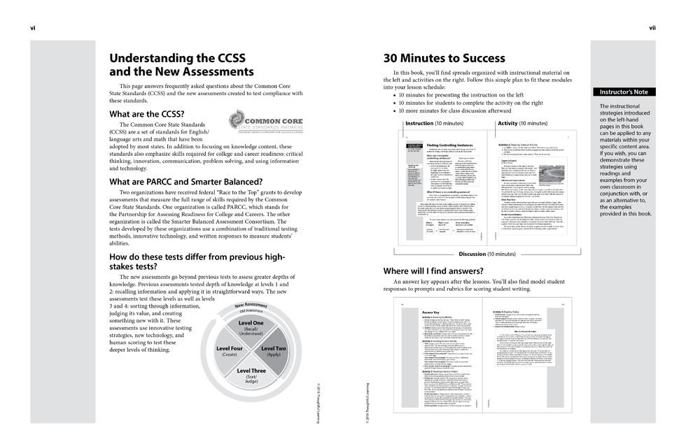 Shifting to the Common Core English/Language Arts (Grades 4-5) page vi and vii