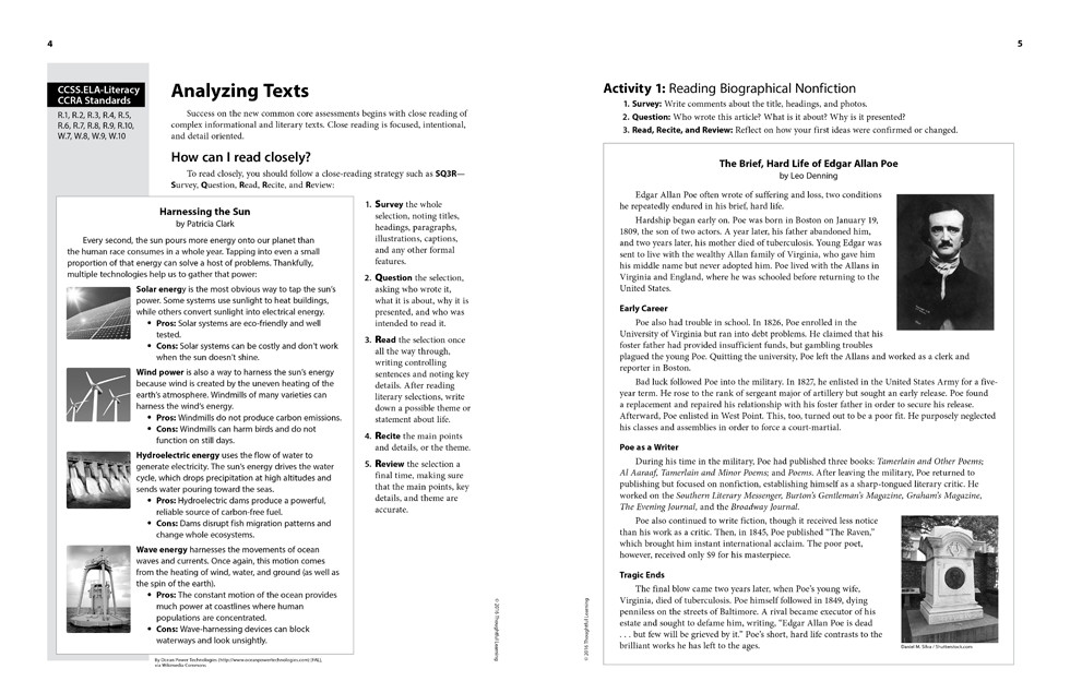 Shifting to the Common Core English/Language Arts (Grades 6-8) page 4 and 5