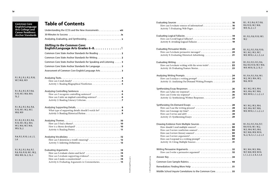 Shifting to the Common Core English/Language Arts (Grades 6-8) page iv and v
