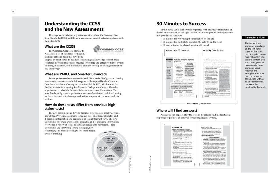 Shifting to the Common Core English/Language Arts (Grades 6-8) page vi and vii