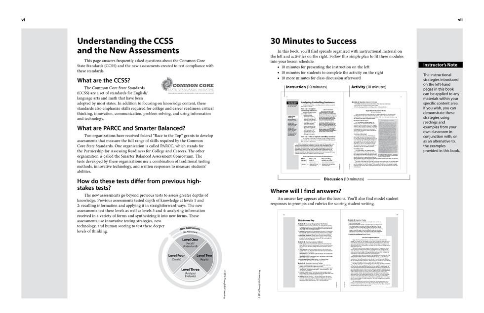 Shifting to the Common Core English/Language Arts (Grades 6-8) page vi and vii