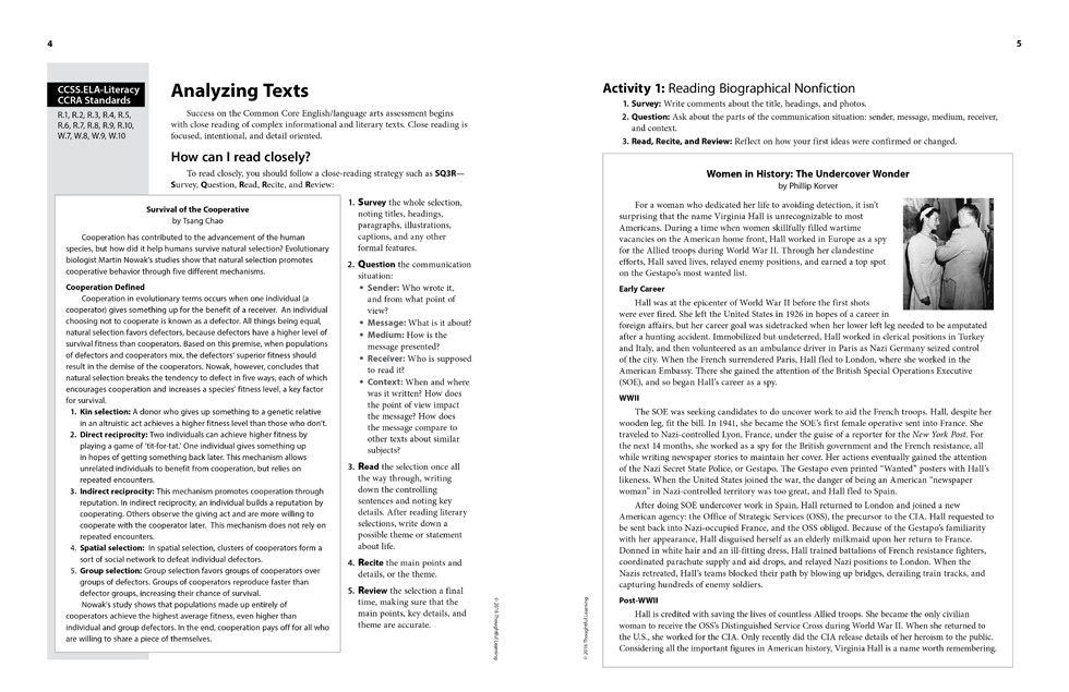 Shifting to the Common Core English/Language Arts (Grades 9-12) Page 4 and 5