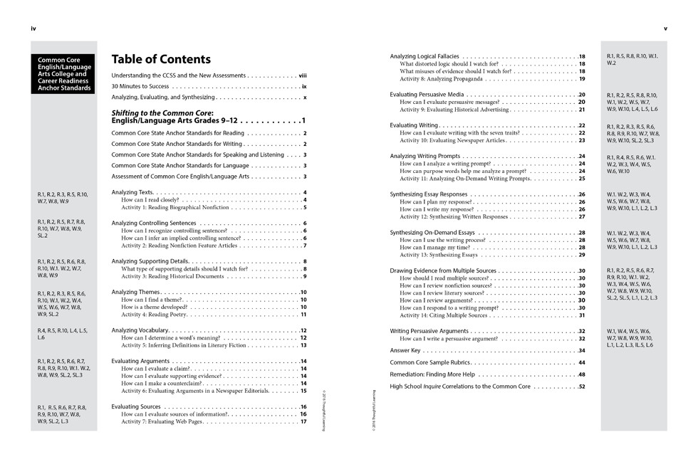 Shifting to the Common Core English/Language Arts (Grades 9-12) Page iv and v