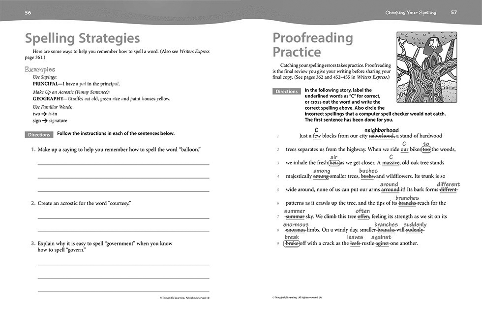 Writers Express Skillsbook Teacher's Edition pages 56 and 57