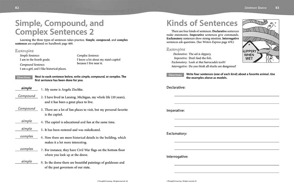 Writers Express Skillsbook Teacher's Edition pages 82 and 83