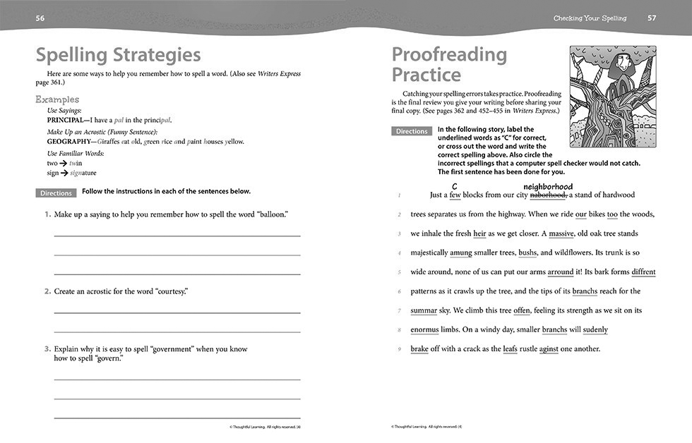 Writers Express SkillsBook Grade 4 pages 56 and 57
