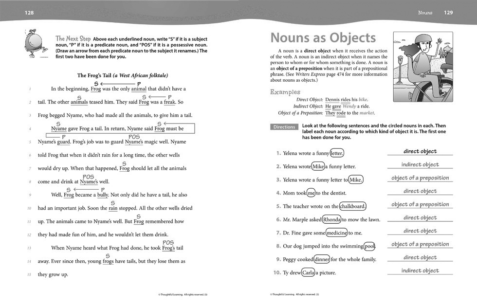 Writers Express Skillsbook Teacher's Edition (Grade 5) pages 128 and 129