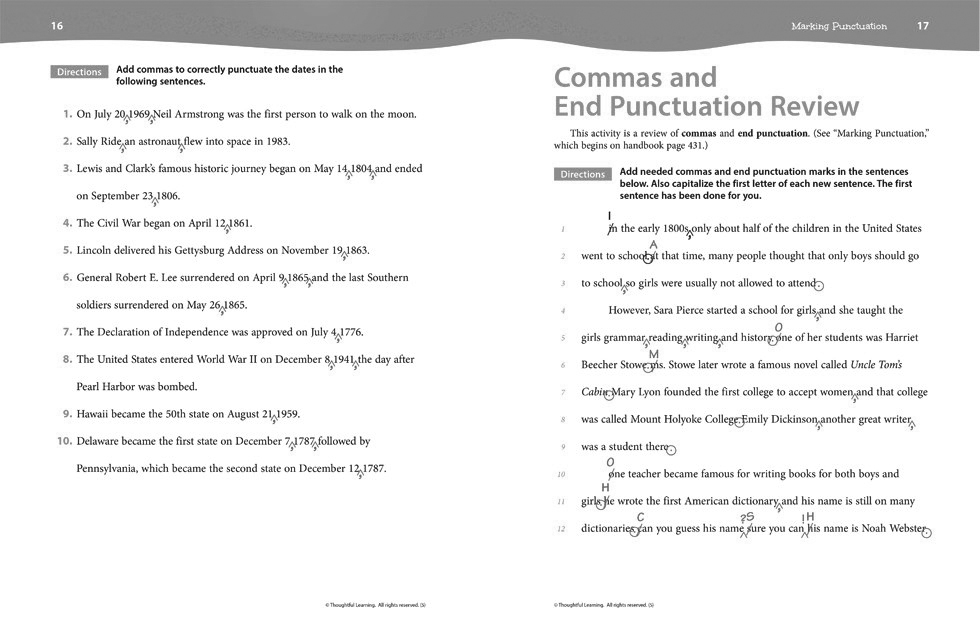 Writers Express Skillsbook Teacher's Edition (Grade 5) pages 16 and 17