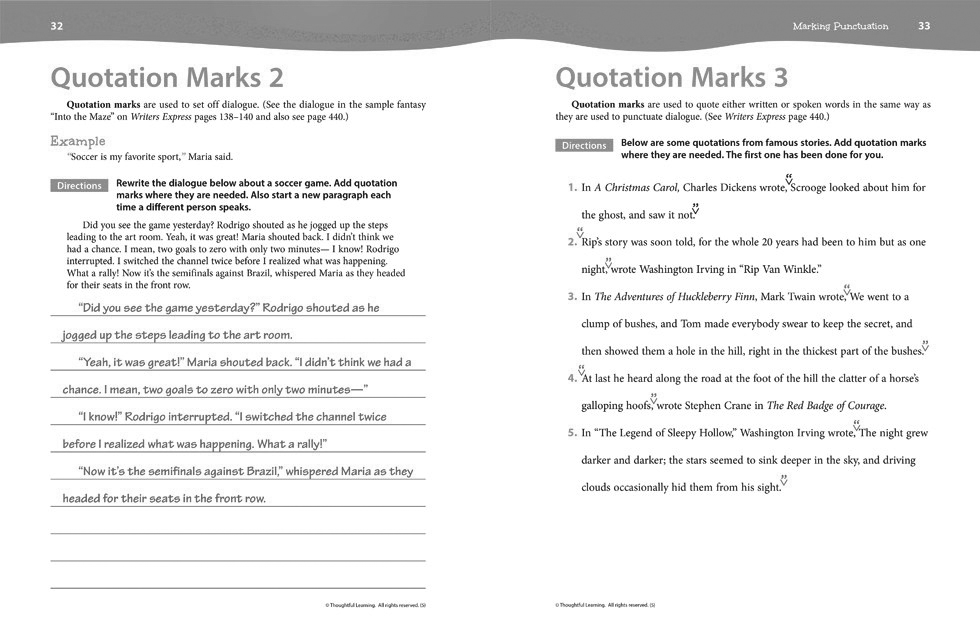 Writers Express Skillsbook Teacher's Edition (Grade 5) pages 32 and 33