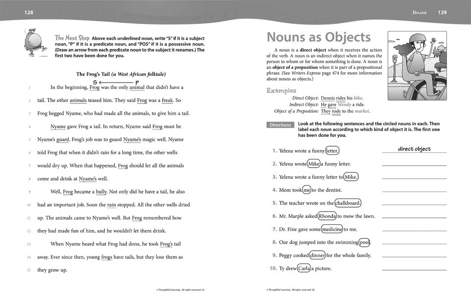 Writers Express Skillsbook (Grade 5) pages 128 and 129