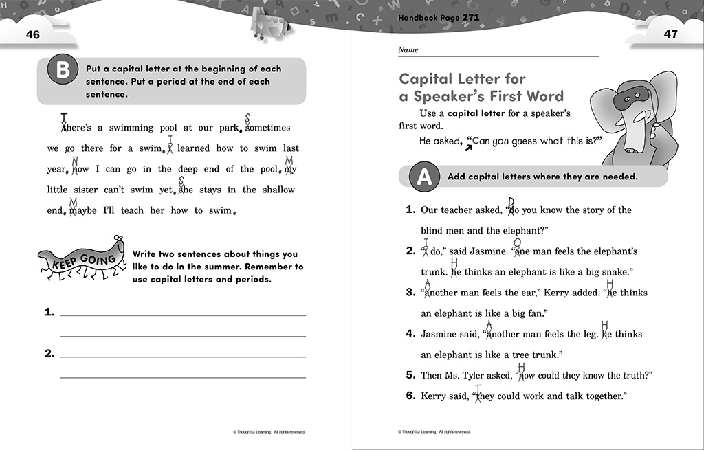 Write Away SkillsBook Teacher's Edition pages 46 and 47
