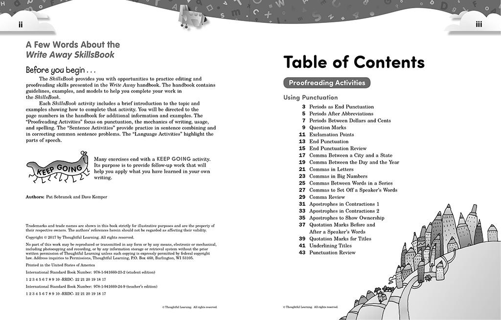 Write Away SkillsBook pages ii and iii