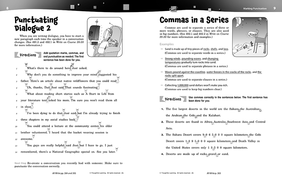 Write on Course 20-20 SkillsBook (6) Teacher's Edition pages 8 and 9