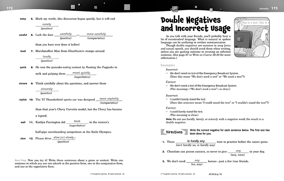 Write on Course 20-20 SkillsBook (7) Teacher's Edition pages 172 and 173