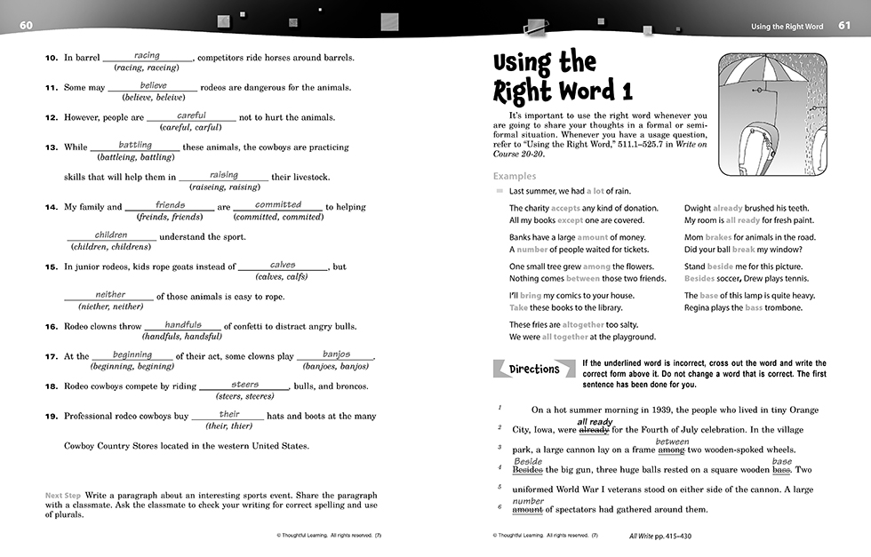 Write on Course 20-20 SkillsBook (7) Teacher's Edition pages 60 and 61