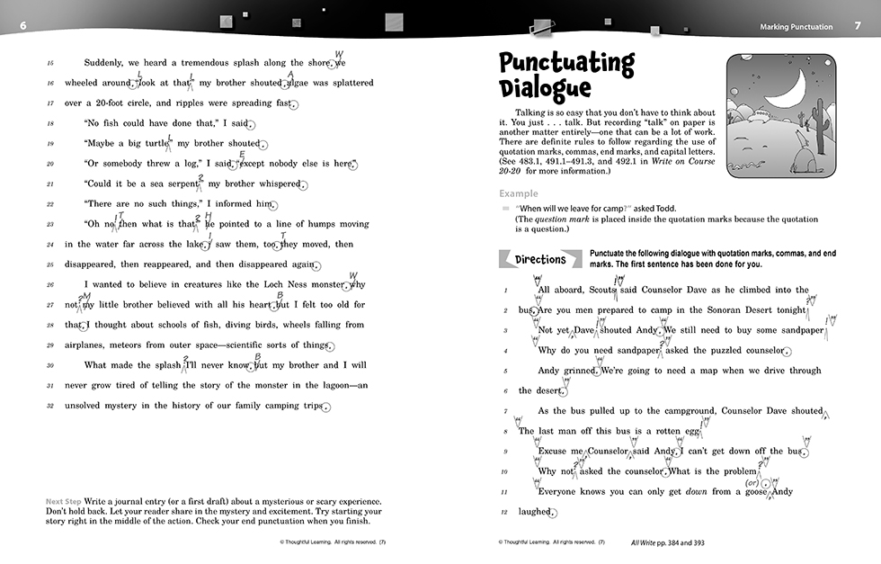 Write on Course 20-20 SkillsBook (7) Teacher's Edition pages 6 and 9