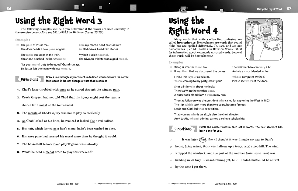 Write on Course 20-20 SkillsBook (8) pages 56 and 57