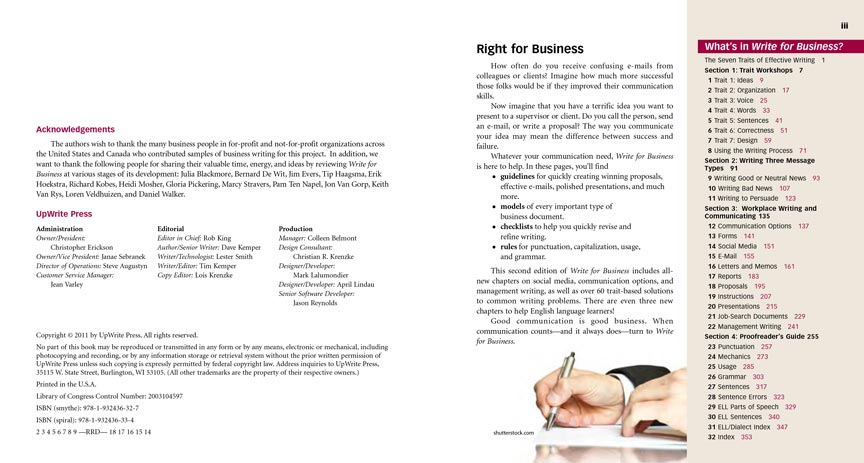 Write for Business pages ii and iii