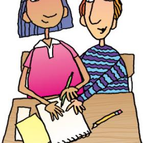 illustration of girl and boy working together
