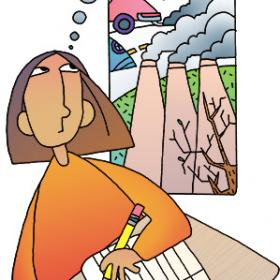 illustration of girl writing and thinking