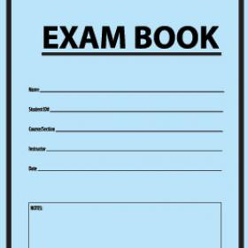 Photo of a blue exam book