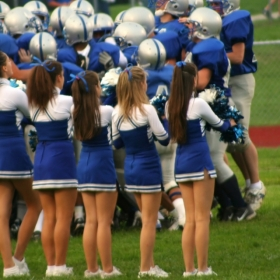 Cheerleaders at a high school football game