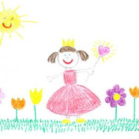 child crayon drawing of beautiful day and princess girl