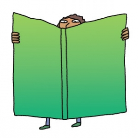 Illustration of boy reading giant book