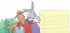 illustration of man and horse imagining history