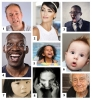 nine faces with expressing different feelings