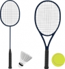 tennis racket, badminton racket, shuttlecock, tennis ball