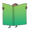 Illustration of boy reading giant book