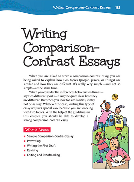 Write my two things to compare and contrast for an essay
