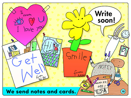We send notes and cards.